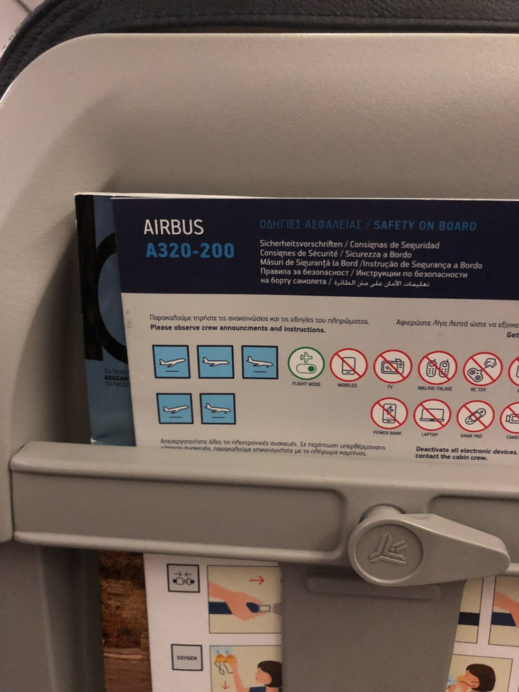 Aegean Airlines economy class